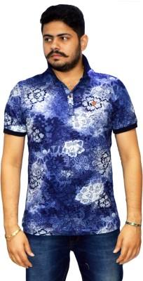 Navratna Nxt Floral Print Men,s Flap Collar Neck Blue T-Shirt