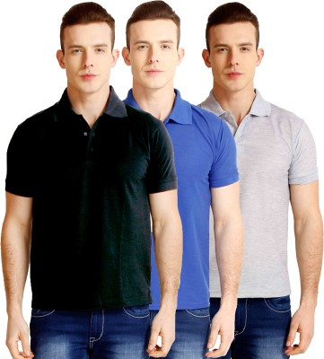 Faded Finch Solid Men's Polo Neck Black, Blue, Grey T-Shirt