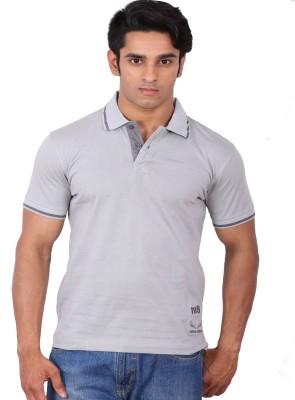 Rat Trap Solid Men's Polo Neck Grey T-Shirt