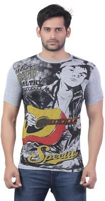Bfly Printed Men's Round Neck Grey T-Shirt