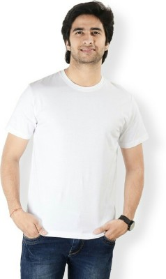 Rp Enterprises Solid Men's Round Neck White T-Shirt