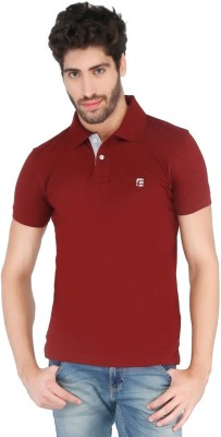 FLAH Solid Men's Polo Neck Maroon T-Shirt