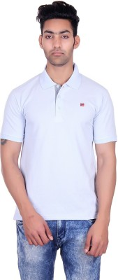 Deutz Solid Men's Polo Neck Light Blue T-Shirt
