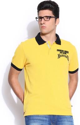 Harvard Solid Men's Polo Neck Yellow T-Shirt