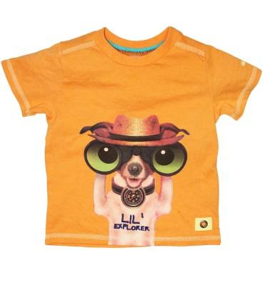 FS Mini Klub Printed Boy's Henley Orange T-Shirt