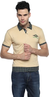 Swing9 Embroidered Men's Polo Neck Beige T-Shirt