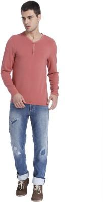 Jack & Jones Solid Men's Henley Maroon T-Shirt