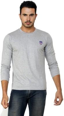 Free Spirit Solid Men's Round Neck Grey T-Shirt