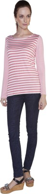 Globus Striped Women's Round Neck Red T-Shirt
