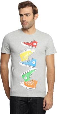 SharkTribe Printed, Graphic Print Men's Round Neck Grey T-Shirt