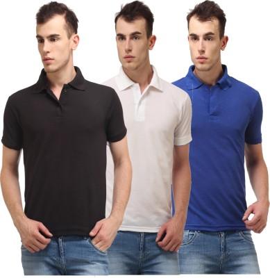 Lime Solid Men's Polo Neck Black, White T-Shirt