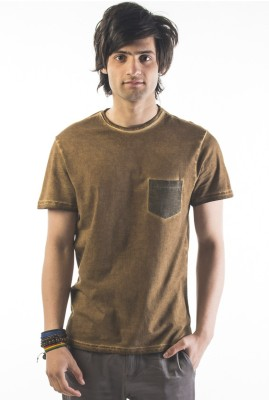 Srota Solid Men's Round Neck Green T-Shirt