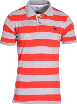 IND Classic Striped Men's Polo Neck Red, Grey T-Shirt