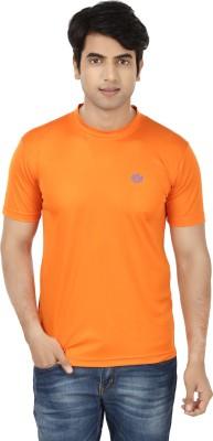 French Circle Solid Men's Round Neck Orange T-Shirt