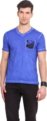 Smokestack Printed Men's V-neck Blue T-Shirt
