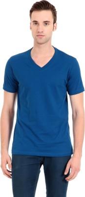 Zeug Solid Men's V-neck Blue T-Shirt