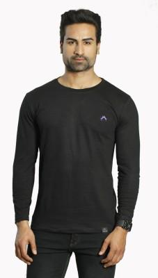 ALBITEN Solid Men's Round Neck Black T-Shirt