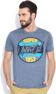 Sera Printed Men's Round Neck Blue T-Shirt