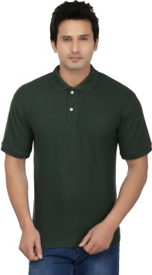 Kaar Solid Men's Polo Neck Dark Green T-Shirt