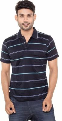 Gleneagles Striped Men's Polo Neck Black T-Shirt