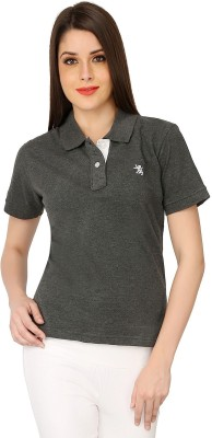 The Cotton Company Solid Women's Polo Neck Grey T-Shirt