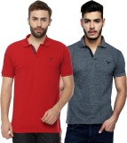Youthen Solid Men's Polo Neck Grey, Red ...