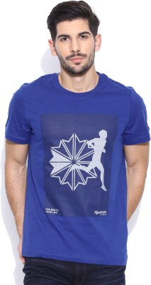 Reebok Classic Printed Men's Round Neck Blue T-Shirt