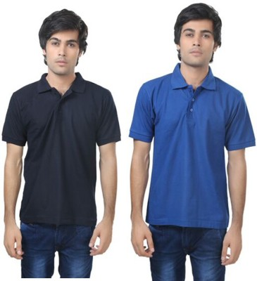 Louis Mode Solid Men's Polo Neck Dark Blue, Light Blue T-Shirt