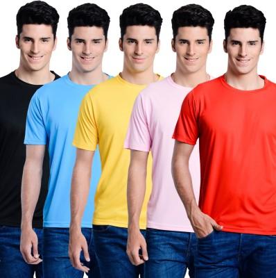 Superjoy Solid Men's Round Neck Light Blue, Black, Yellow, Pink, Red T-Shirt