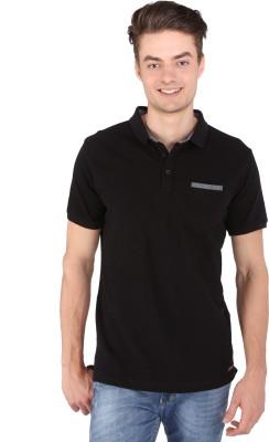 Caricature Solid Men's Polo Neck Black T-Shirt