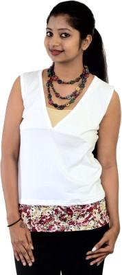 SUPRI Floral Print Women's V-neck White T-Shirt