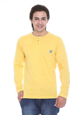 AVE Solid Men's Henley Yellow T-Shirt