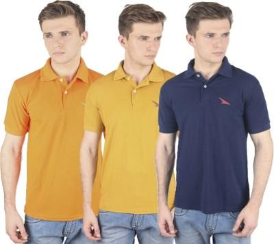 PRO Lapes Solid Men's Polo Neck Orange, Yellow, Blue T-Shirt