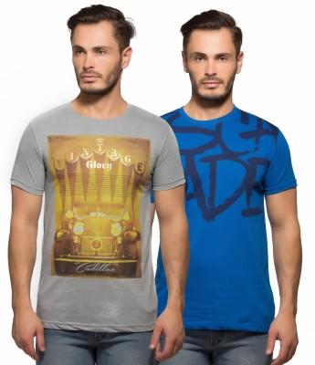 Yo Republic Printed Men's Round Neck Grey, Blue T-Shirt