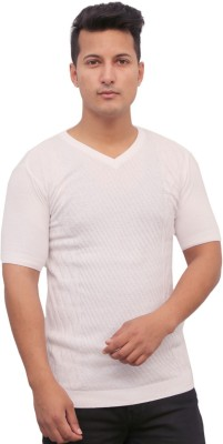 Protex Self Design Men's V-neck White T-Shirt
