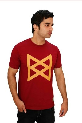 Aeltic Graphic Print Men's Round Neck Maroon T-Shirt