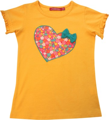 Campana Applique Girl's Round Neck Yellow T-Shirt