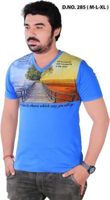 RGT Printed Men's V-neck Blue T-Shirt