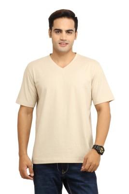 WallWest Solid Men's V-neck Beige T-Shirt