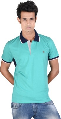 Juene Solid Men's Polo Neck Green T-Shirt