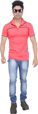 AFLASH Printed Men's Polo Pink T-Shirt