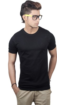 Spur Solid Men's Round Neck Black T-Shirt