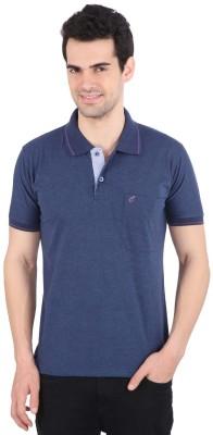 Illicit Nation Solid Men's Flap Collar Neck Blue T-Shirt