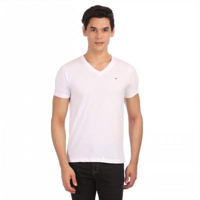 Neva Solid Men's V-neck White T-Shirt