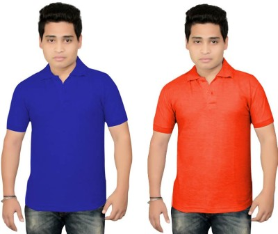BrandTrendz Solid Men's Polo Neck Blue, Orange T-Shirt