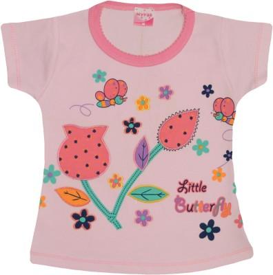 Myfaa Printed Baby Girl's Round Neck Pink T-Shirt