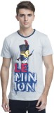 Minions Printed Men's Round Neck Grey T-...