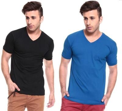 Lowcha Solid Men's V-neck Black, Blue T-Shirt