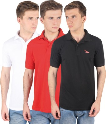 PRO Lapes Solid Men's Polo Neck Black, White, Red T-Shirt