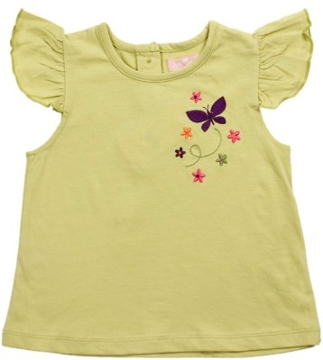 JusCubs Solid Baby Girl's Round Neck Light Green T-Shirt